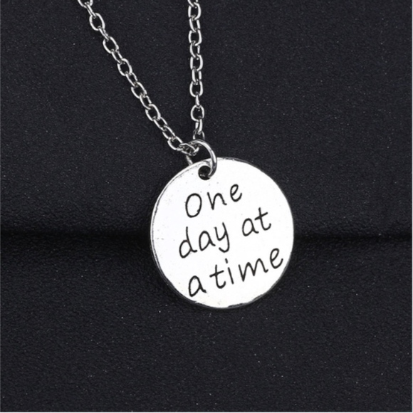 Jewelry One Day At A Time Quote Circle Silver Necklace Poshmark